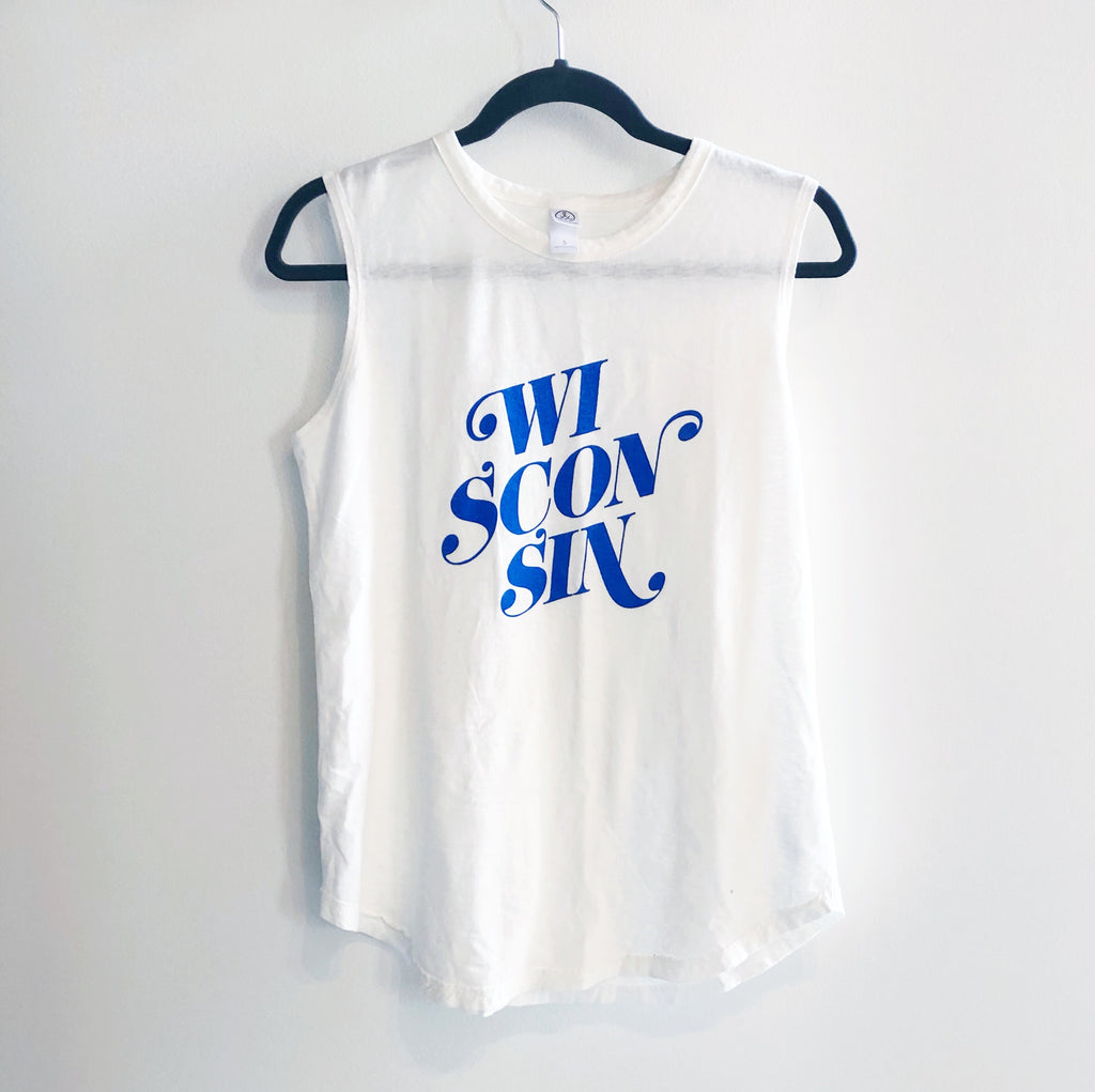 Wisconsin Script Sleeveless Tee - Vintage White