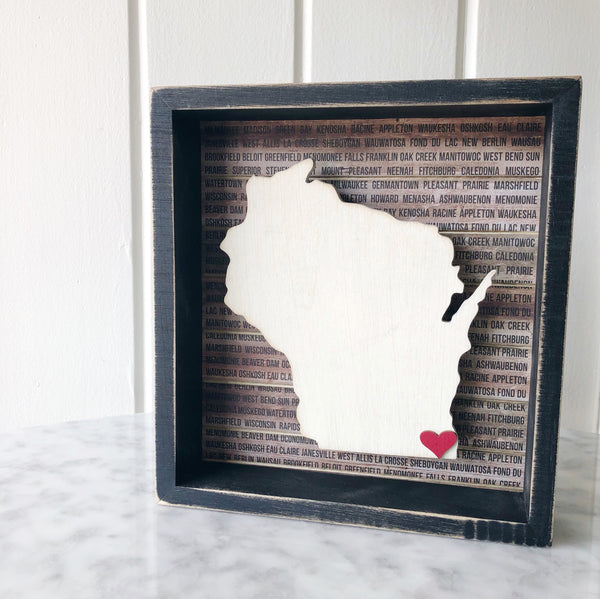 Wisconsin Shadowbox with Movable Heart