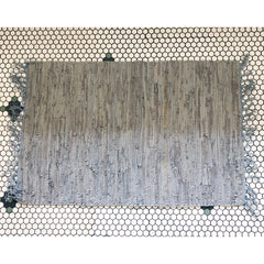 2'x3' Leather Woven Rug - Grey