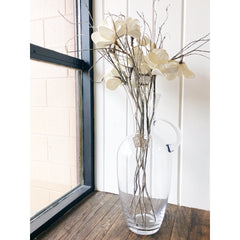 "Large Glass Vase 22"" With Faux Flowers"