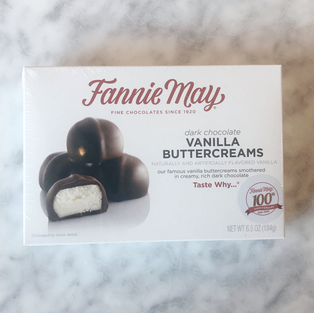 Fannie May Dark Chocolate Vanilla Buttercreams 6.5oz box