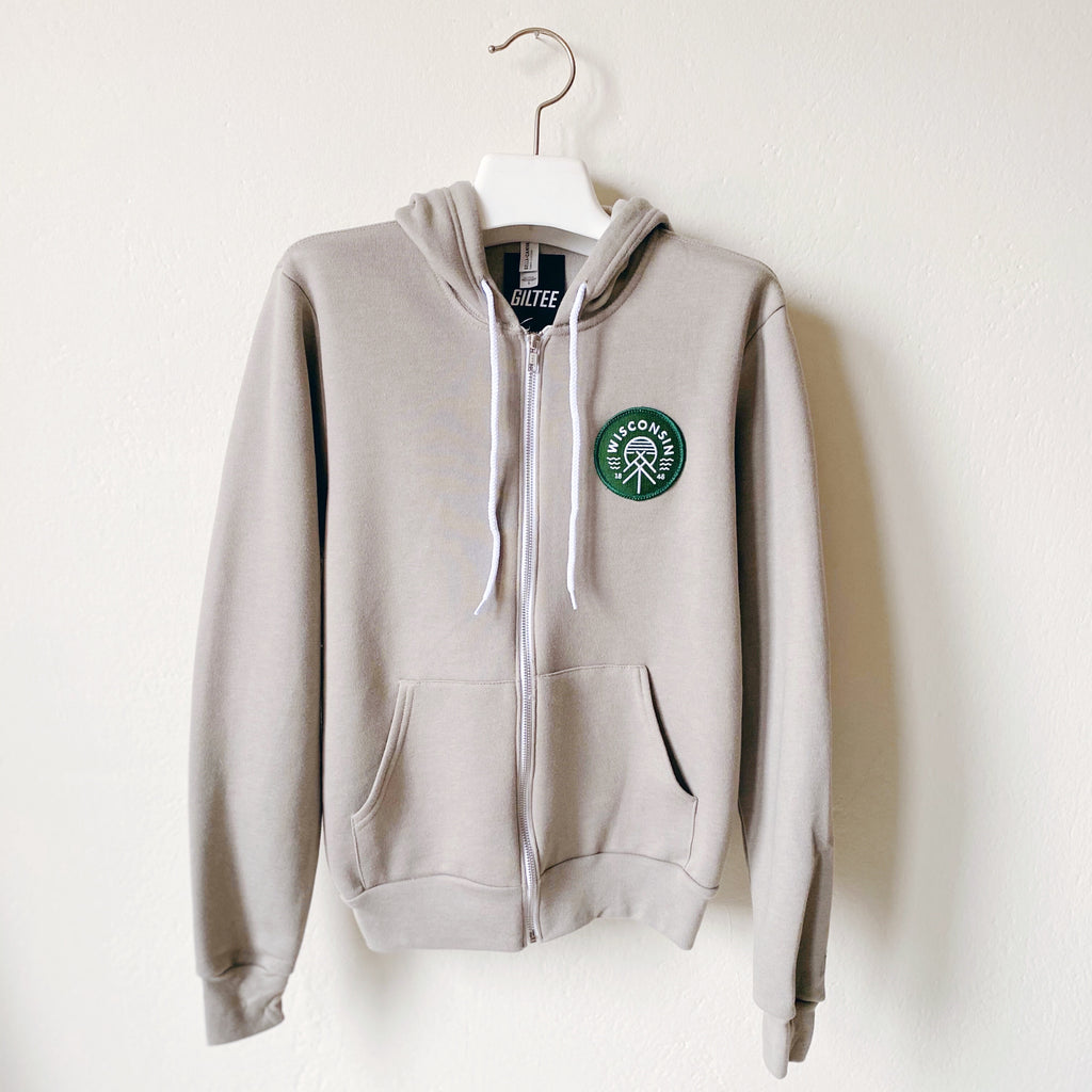 Native Wisconsin Patch Zip Up - Stone