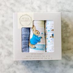 Peter Rabbit Muslin Baby Blankets Set of 3
