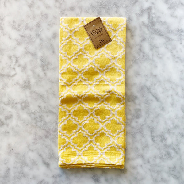 Yellow Lattice Jacquard Dishtowel