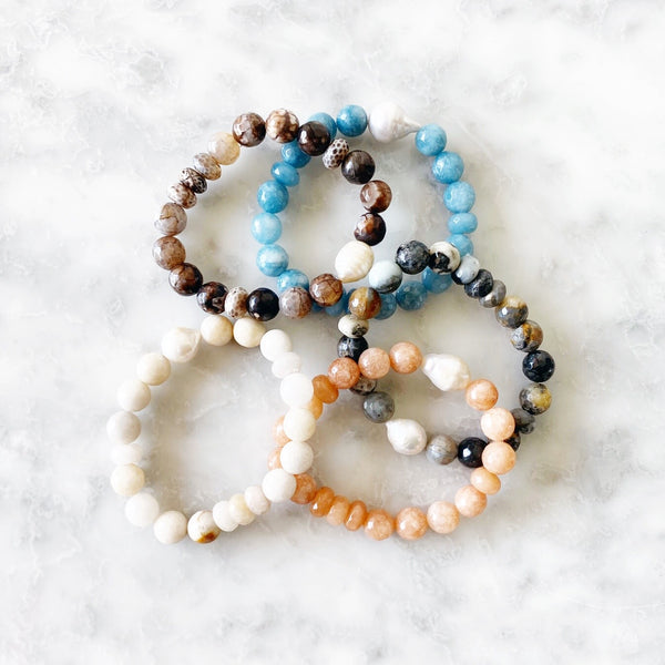 Gemstone Stacking Bracelets - Assorted Colors