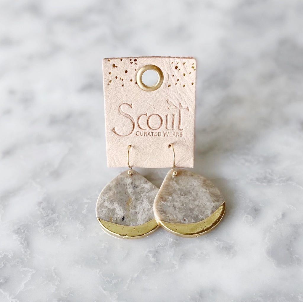 Stone Dipped Teardrop Earring -Fossil + Gold