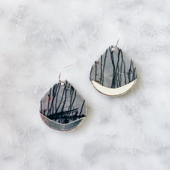 Stone Dipped Teardrop Earring - Black + Silver
