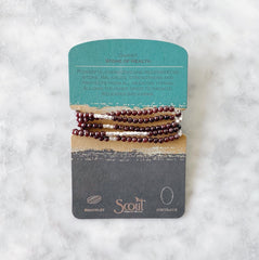 Wrap Bracelet/Necklace - Garnet - Stone of Health