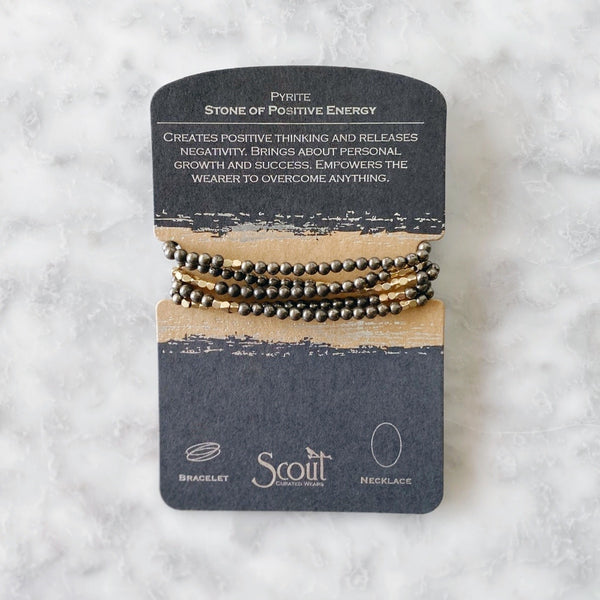 Wrap Bracelet/Necklace - Pyrite - Stone of Positive Energy