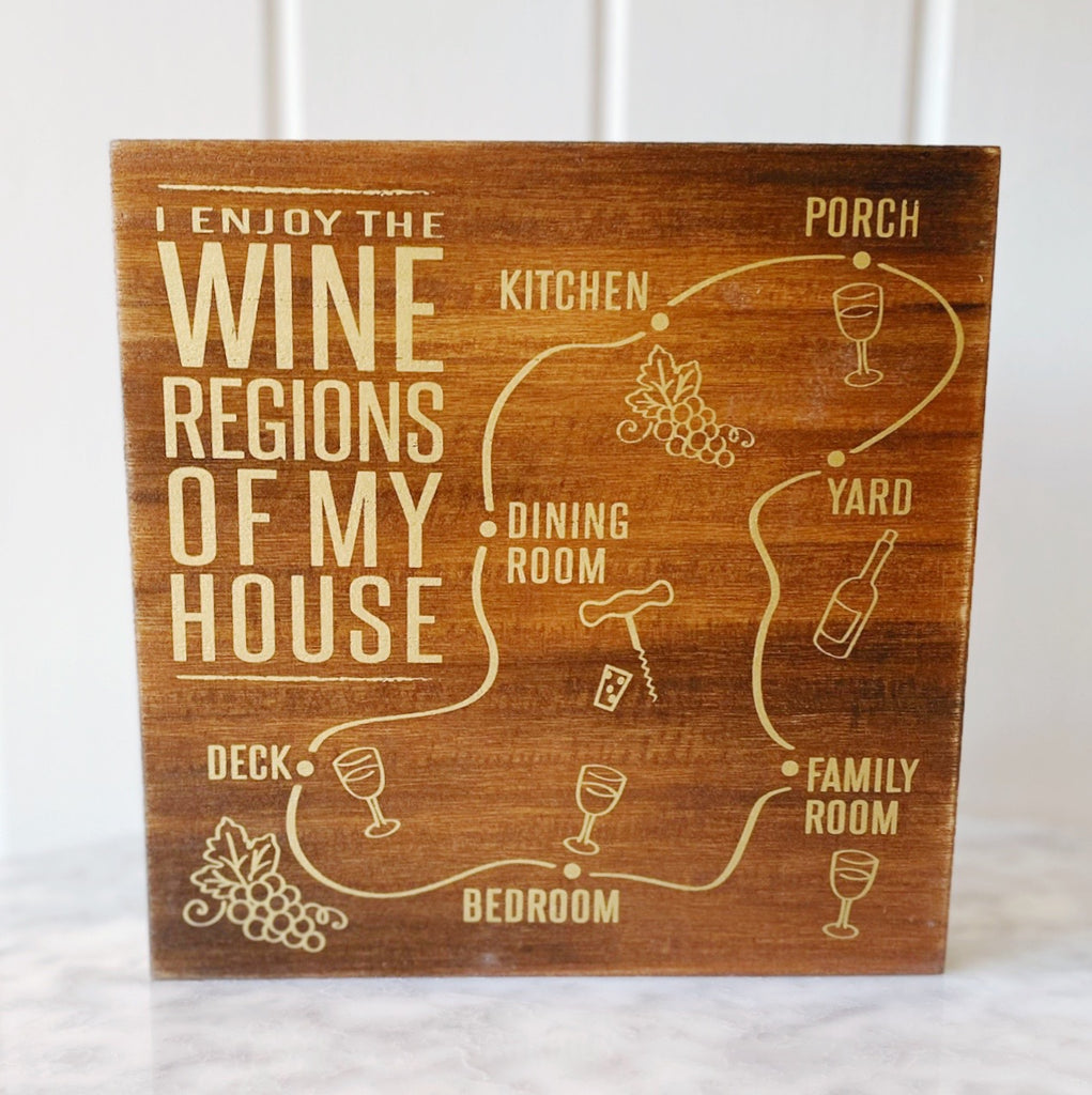 Wine Regions Of My House Box Sign