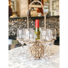 Wicker Wine Carrier W. Six Glasses