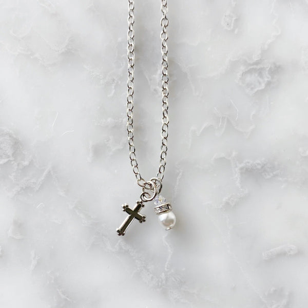 Cross + Pearl Charm Necklace