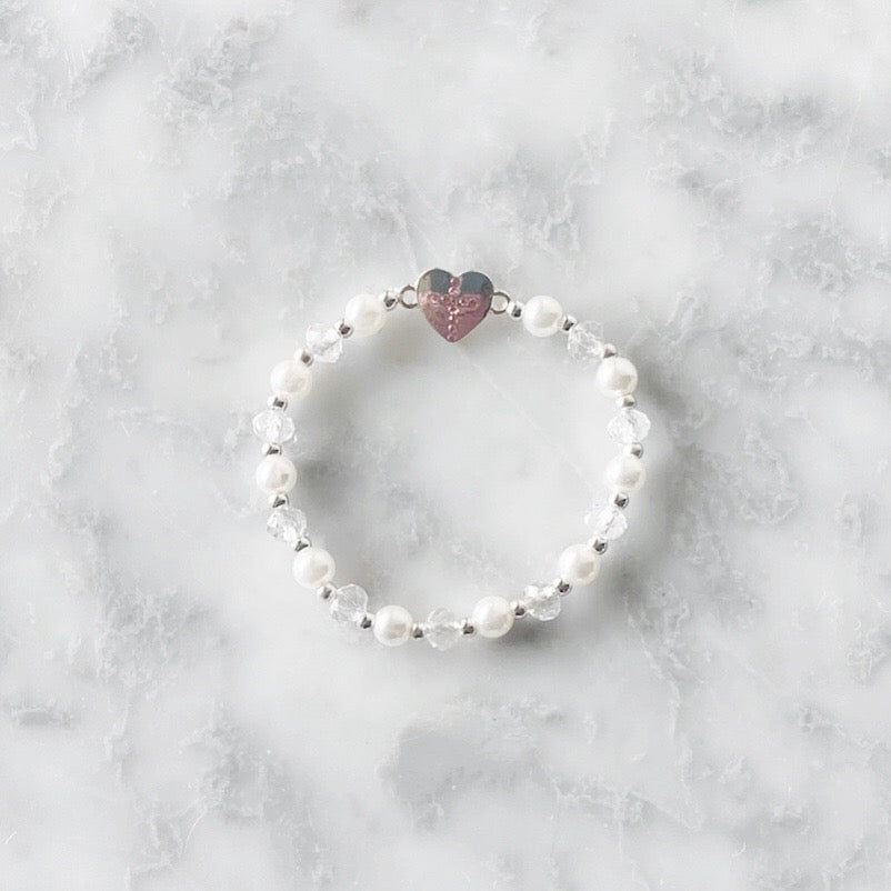Baptism Bracelet Heart + Pink Cross