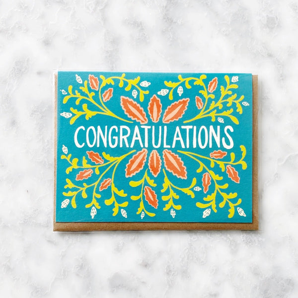 Congratulations Teal Greeting Card