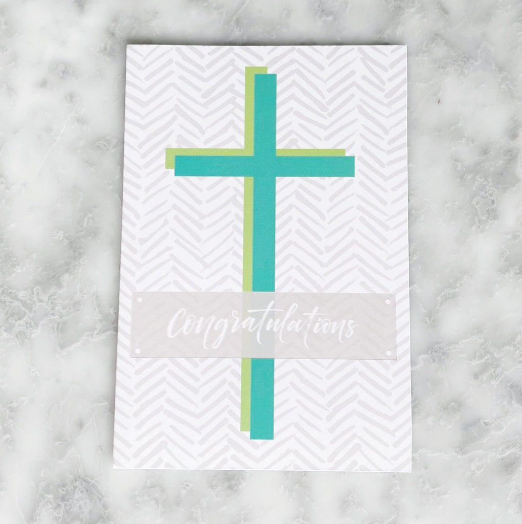 Confirmation Green Cross Greeting Card