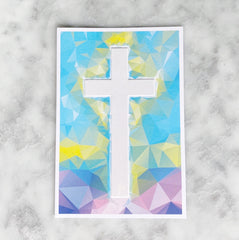 First Communion Stained Glass Cross Greeting Card