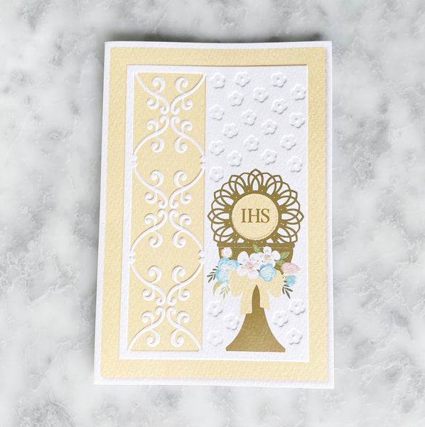 First Communion Embossed Greeting Card