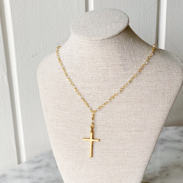 Crystal Cross Gold Necklace