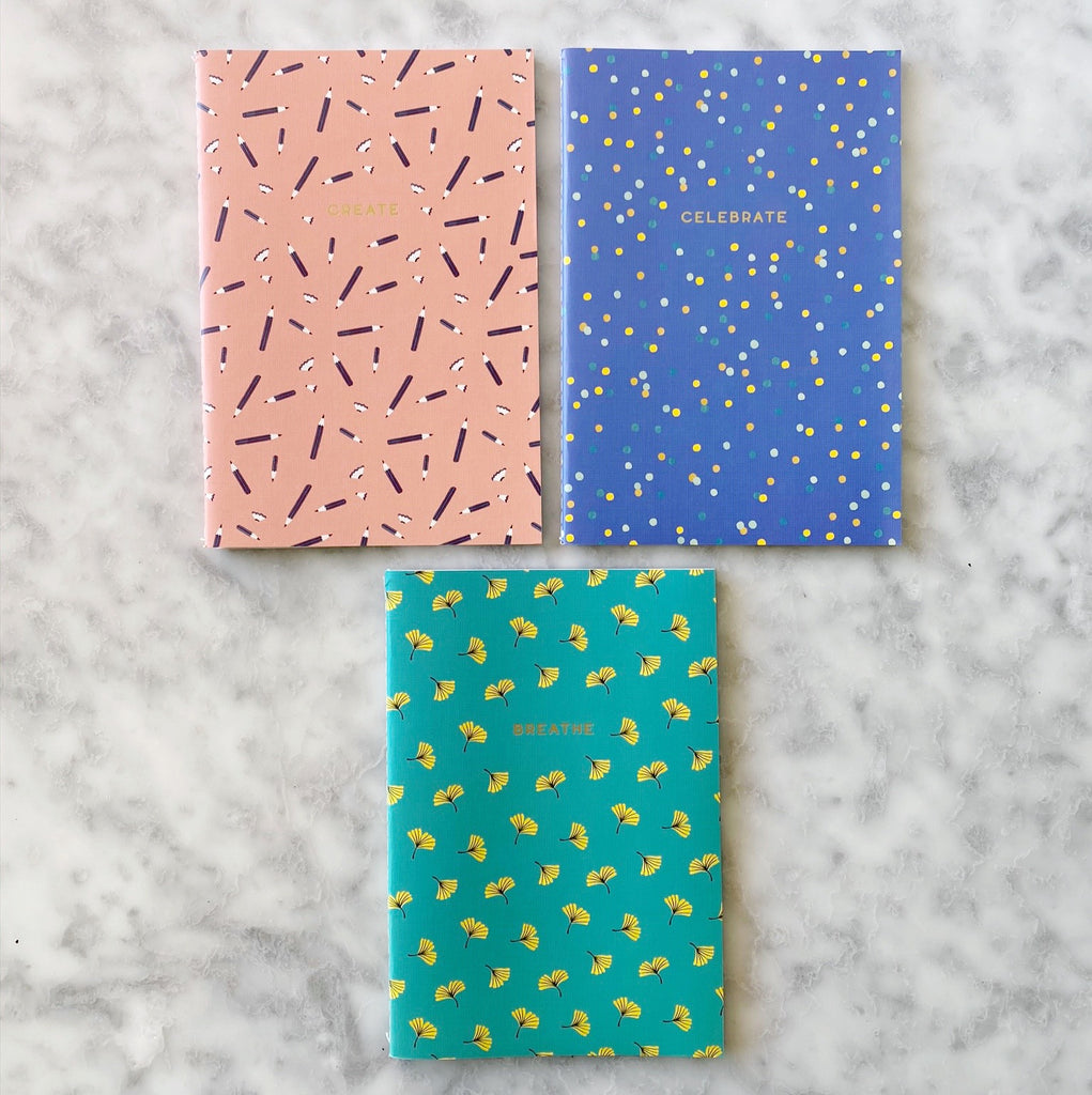 Set of Three Notebooks - Pastel Colors