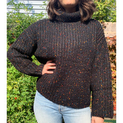 Black Speckled Oversized Turtleneck Sweater