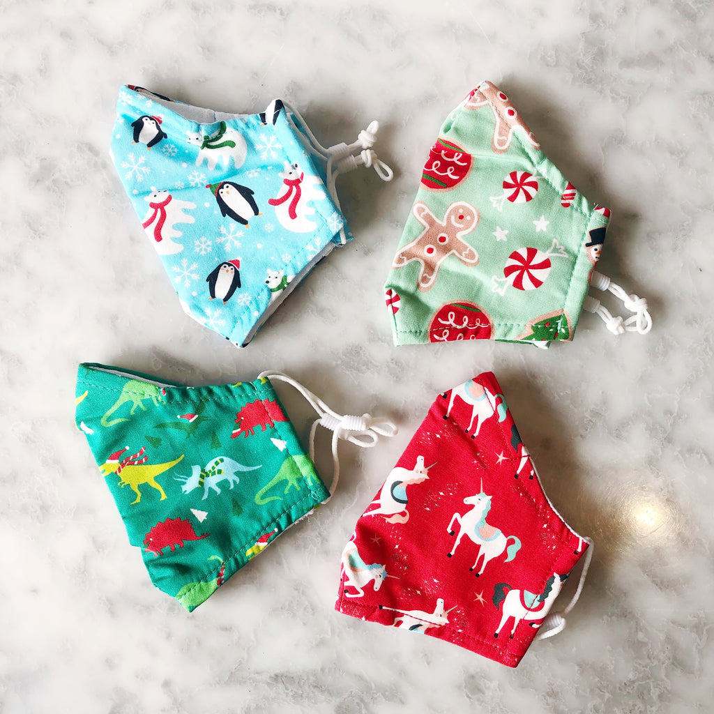 Kids Cotton Face Covering - Holiday Patterns