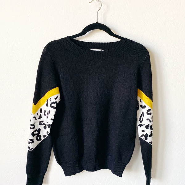 Black Sweater With Animal Print Sleeves