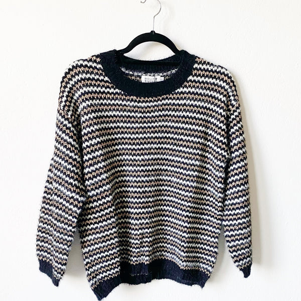 Black + Gold Striped Sweater