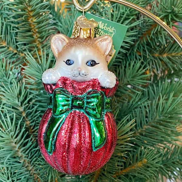 Old World Christmas Cat In The Bag Ornament