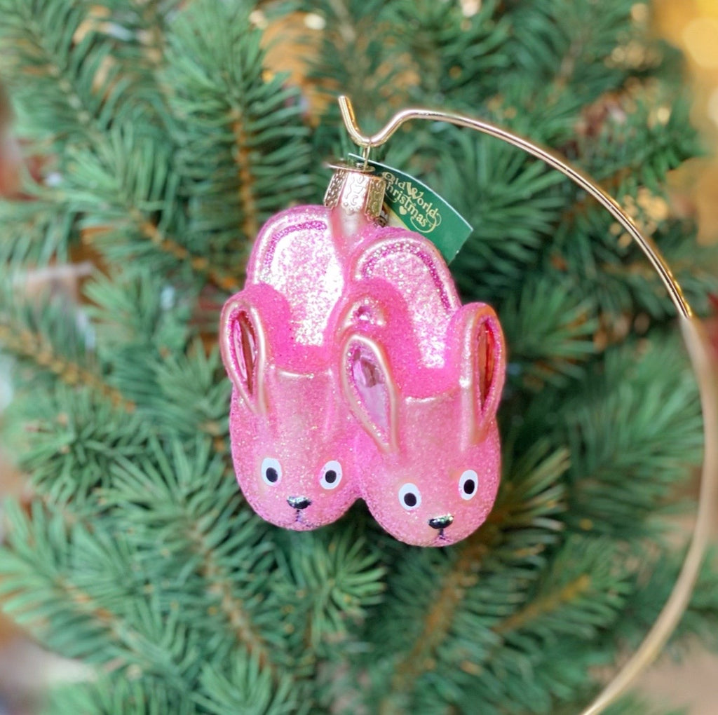 Old World Christmas Bunny Slippers Ornament