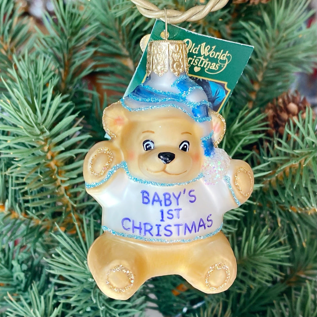 Old World Christmas Baby's First Ornament - Blue