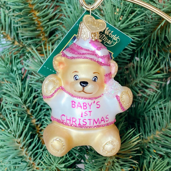 Old World Christmas Baby's First Ornament - Pink