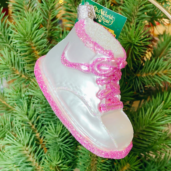 Old World Christmas Baby Shoe Ornament - Pink