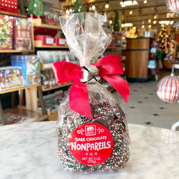 Long Grove Jingle Bell Dark Chocolate Nonpariels
