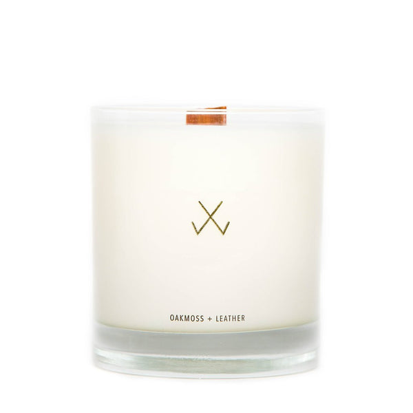 Simply Curated Oakmoss and Leather wood wick candle 9oz
