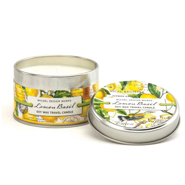 Michel Designs Lemon Basil 4oz Travel Candle