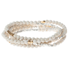 Wrap Bracelet/Necklace - White Lava - Stone of Strength