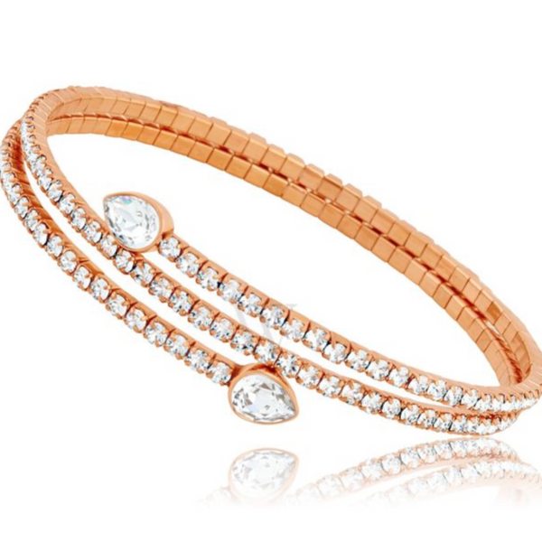 Swarovski Twisty Drop Bangle - Rose Gold