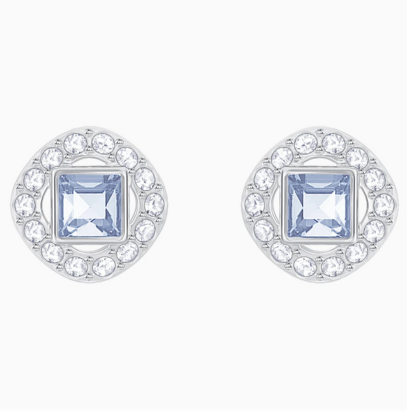Swarovski Angelic Square Studs - Silver + Blues