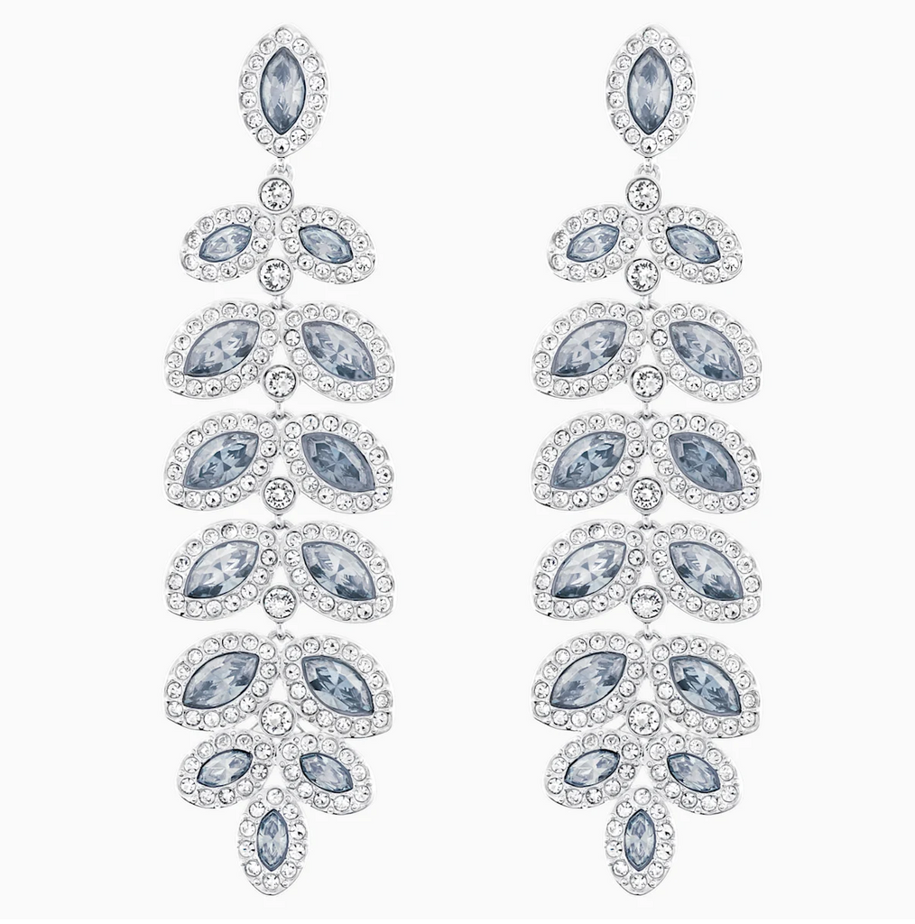 Swarovski Baron Drop Earrings - Silver + Grey