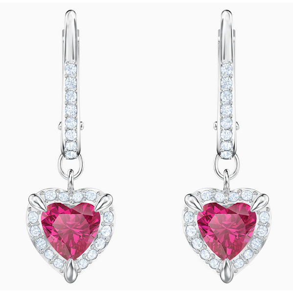 Swarovski One Heart Earrings - Silver + Pink