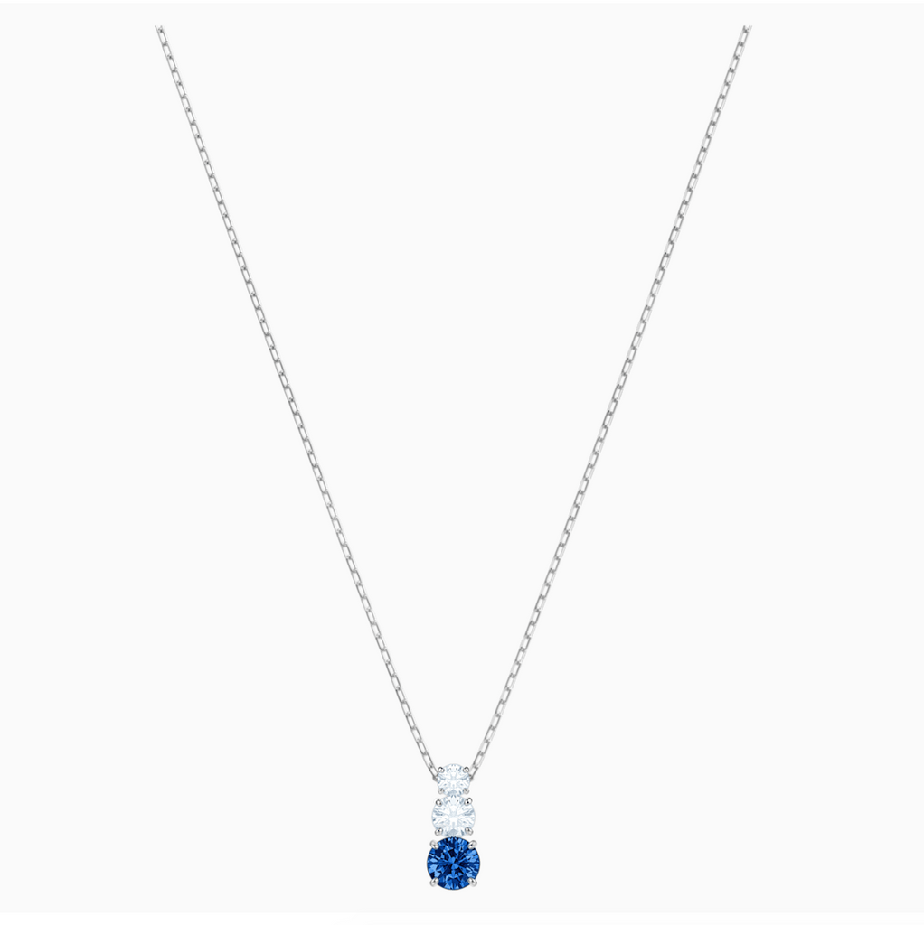 Swarovski Attract Trilogy Pendant Necklace - Silver + Blue