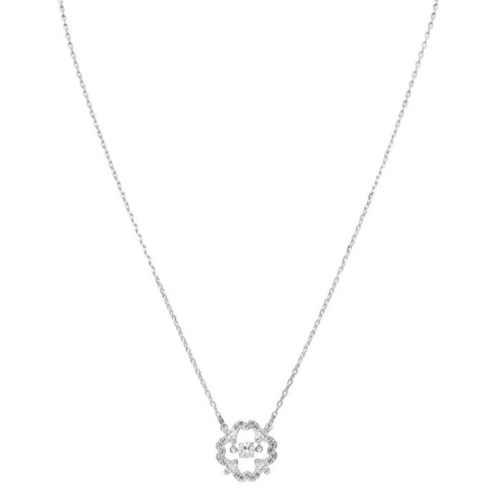 Swarovski Sparkling Dance Flower Necklace - Silver