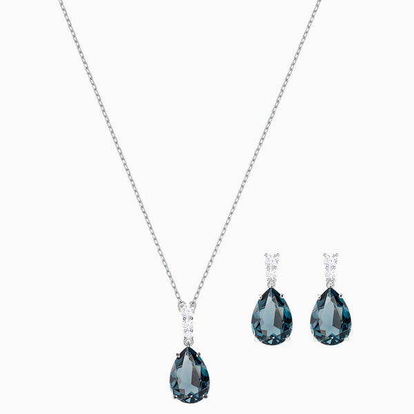 Swarovski Vintage Dangle Set - Silver + Teal