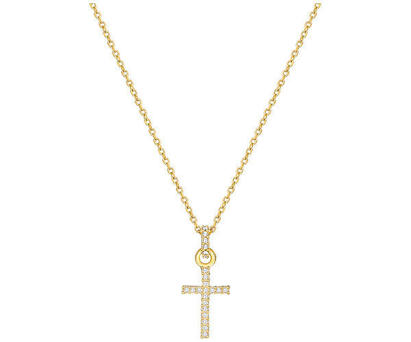 Swarovski Mini Cross Pendant - Gold