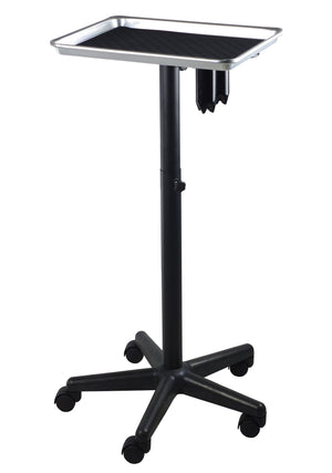 SalonPro Adjustable Aluminum Rolling Styling Cart Trolley w/ Tool Holder