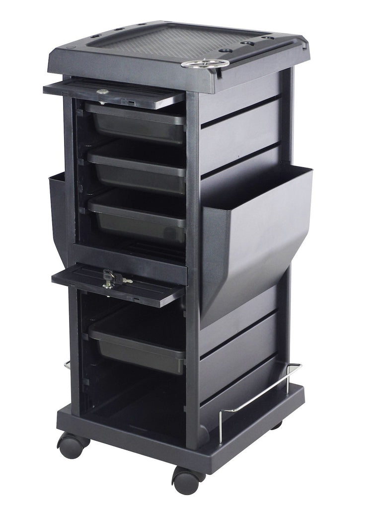 SalonPro Lockable Styling Cabinet Storage & Coloring Trolley w/ Rolling Wheels in Black Styling Trolley SalonPro Equipment