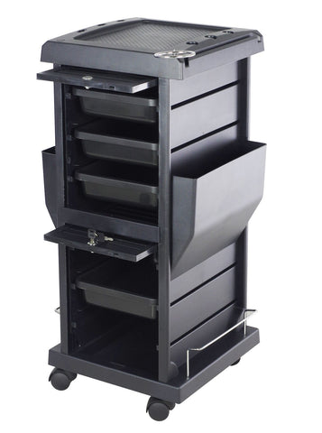Image of SalonPro Lockable Styling Cabinet Storage & Coloring Trolley w/ Rolling Wheels in Black Styling Trolley SalonPro Equipment