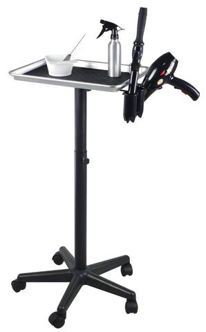 Image of Adjustable Aluminum Rolling Styling Cart Trolley w/ Tool Holder Salon Furniture SalonPro Equipment