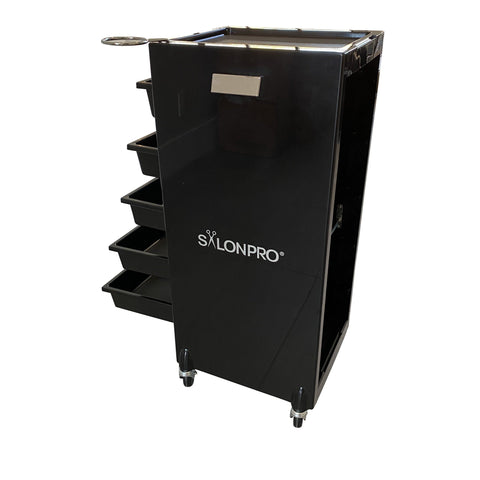 Image of SalonPro 5 Drawer Styling Cabinet Storage & Coloring Trolley w/ Rolling Wheels in Gloss Black Styling Trolley SalonPro Equipment