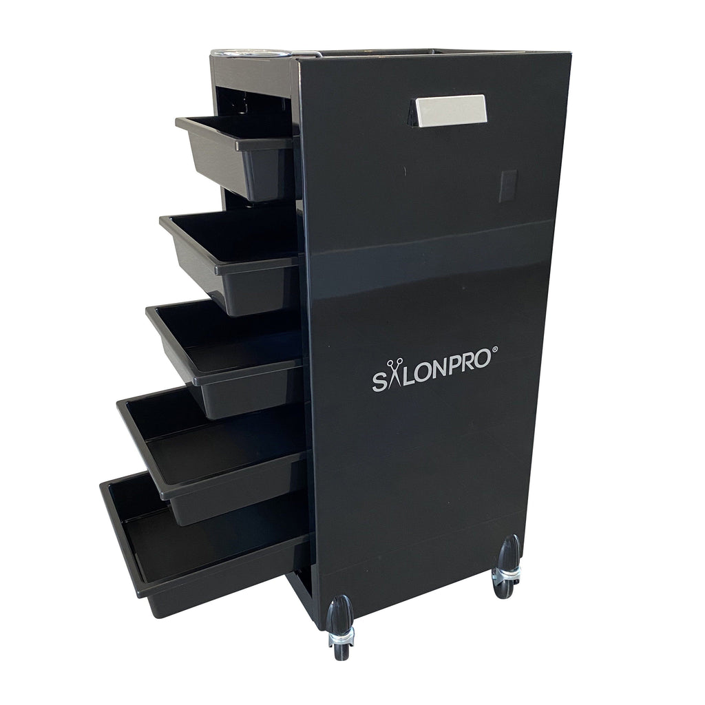 SalonPro 5 Drawer Styling Cabinet Storage & Coloring Trolley w/ Rolling Wheels in Gloss Black Styling Trolley SalonPro Equipment